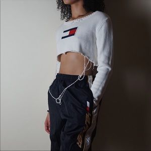 Vintage Distressed Tommy Hilfiger Cropped Sweater